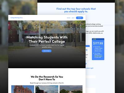 College Rankings Guru Website gradient soft pricing table school filter blue friendly video hero website college
