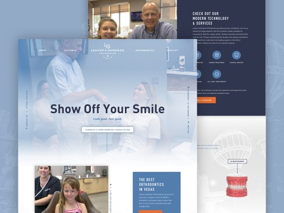 LG Website Design components typography hierarchy masculine las vegas icons orthodontist hero blue website