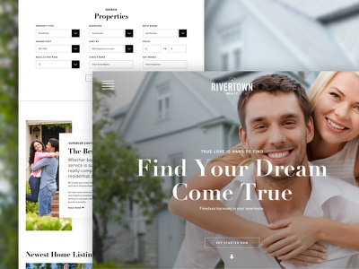 Realty Website Concept love happiness filters property hierarchy hero couple realty homes search website