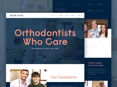 Orthodontist Website bold slider navigation hierarchy contrast modern clean smiles navy blue salmon video hero website