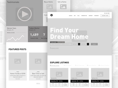 Realty Website Wireframes ui ux design home statistics posts listings informative filters wireframe website realtor realty