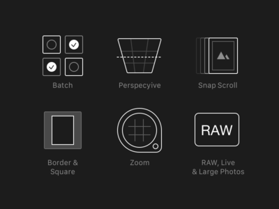 Darkroom 3.0 New Feature Icons