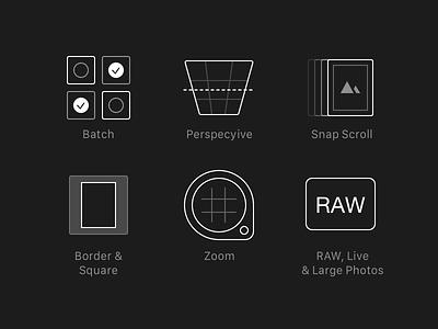 Darkroom 3.0 New Feature Icons icon app neon darkroom