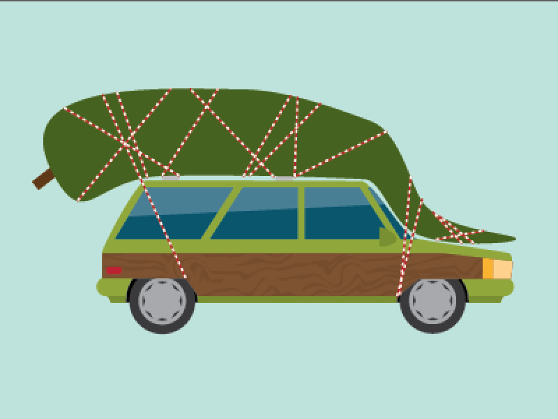It's not going in the yard, Russ.  illustration vector christmas vacation christmas tree tree station wagon