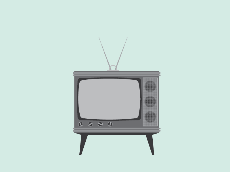tiny tv television illustration vector black and white mint bw
