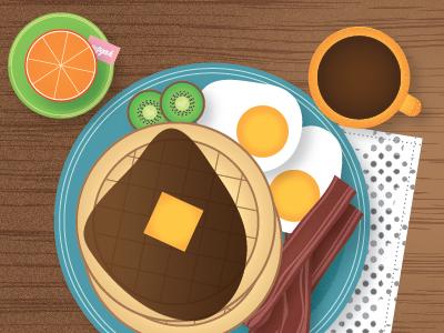 breakfast waffles illustration illustrator breakfast bacon vector
