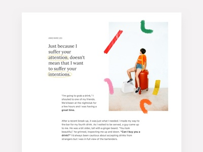 WIP — Sexual Assault Awareness Project web design story article devine paint typo typograpy light color women friendly women minimal