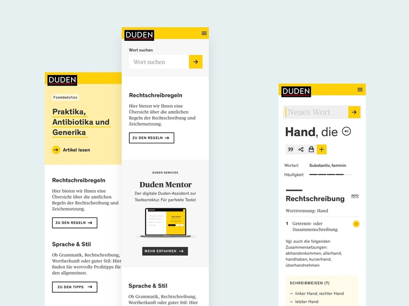 Duden — Mobile Screens ux ui sketch product words homepage project design internship interface mobile german dictionary duden edenspiekermann