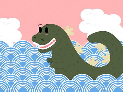 Famous Kaiju And Where To Find Them: Godzilla illustration king monster kaiju godzilla