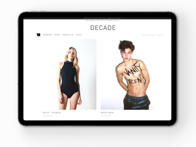 DECADE webshop iPad fashion brand fashion design fashion logo ux identity vector branding futurecommanddesignoffice japan design