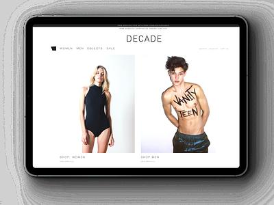 DECADE webshop iPad fashion brand fashion design fashion logo ux identity vector branding futurecommanddesignoffice japan design