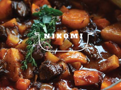 NIKOMI 煮込み futurecommanddesignoffice design hiroshima japan logo japanese food restaurant logo food logo hotpot 鍋 nabe pot restaurant food 煮込み stew nikomi