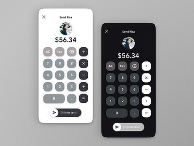 Wallet app   Send and request money from your friends dailyui 004 calculator ui black dark mode swipe button design icons wallets send uiux cash money wallet app