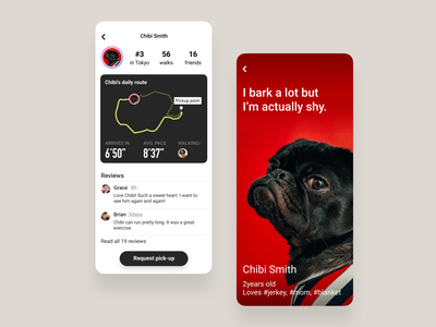 Profile - Day 06 #DailyUI 🐶 quotes roboto din floating button profile page uiux ui sports running app red pugs dailyui006 dailyui profile