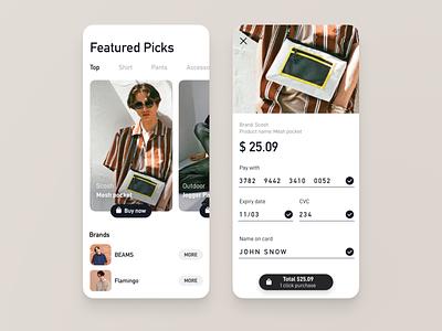 Credit card checkout - Day 02 #DailyUI 👕 monotone black  white bags shirt fashion brand fashion app brown floating button dailyui002 uiux ui credit card checkout creditcard