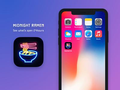 App Icon - Day 05 #DailyUI 🍜 map food appicon dailyui 005 neon colors neon sign neon light dark ui uiux ui design ramen app icon