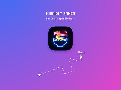 App Icon - Day 05 #DailyUI 🍜✨ nightlife darkui gmap photoshop illustration uiuix food map gradation dailyui005 icon app neonsign neon light