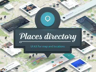 Places Directory_UI Kit presentation advertisement widgets website sketch psd searching map template uikit