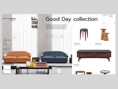 Home_collection study banner landing interaction furniture webdesign ux ui clean animation