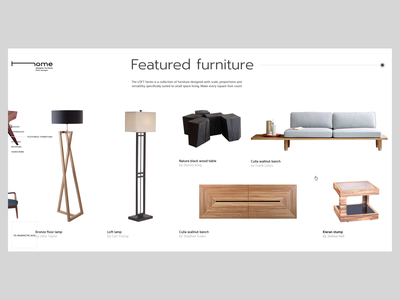 Home_product overview minimal ux ui product page interaction e-commerce furniture clean webdesign cinema4d 3d animation