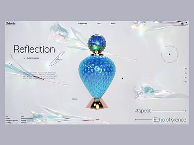 Odoria web 3d redshift c4d design scent perfumes luxury ux ui minimal light graphicdesign animation webdesign