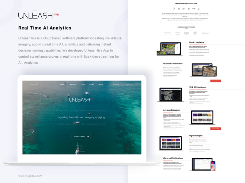 Unleash-live (Real Time AI Analytics) analytics ai homepage ui icons design iphone app android ios debut web design camera live tracking hero website