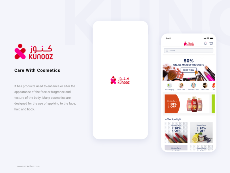Kunooz product beauty live onboarding splash website cosmetic pharmacy clean minimal illustration app design ux ui icons design iphone app android ios