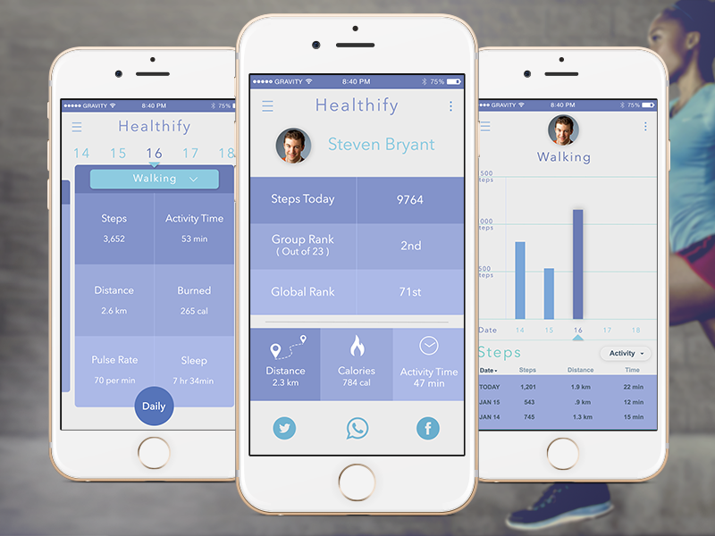 Healthify 3 screens