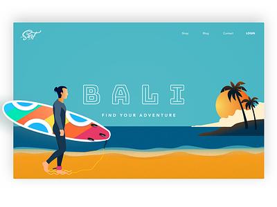Surfboard bali surfboard header beach wanderlust trip homepage hero design iphone flat web typography website illustration branding ux ui design vector ios