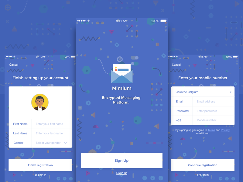 Free Sketch Template: Mimium Messenger App ux ui material flat chat app ios template sketch free