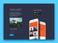 AppLead Dark theme app landing pages
