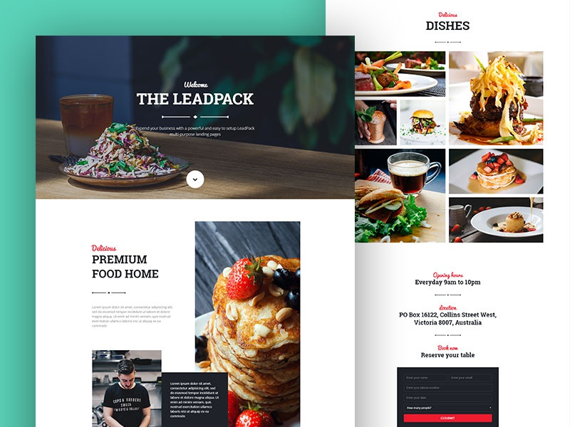 Leadpack Restaurant Landing Page landing page one page lead page business web product app landing leadpack