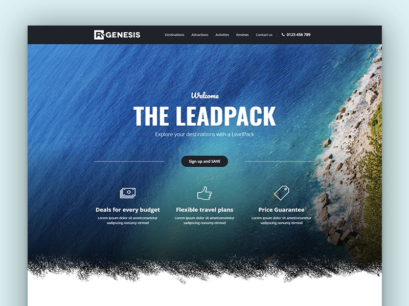 Leadpack Travel Landing Page landing page one page lead page web product travel landing leadpack