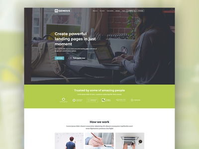 Landing page demo promote template one page landing startup web green theme