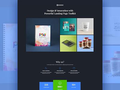 Creative One-Page Portfolio Showcase work creative showcase blue portfolio one page agency startup grid dark theme