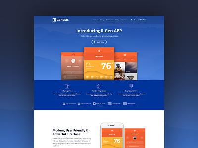 App Landing Page promote template one page landing app web blue theme