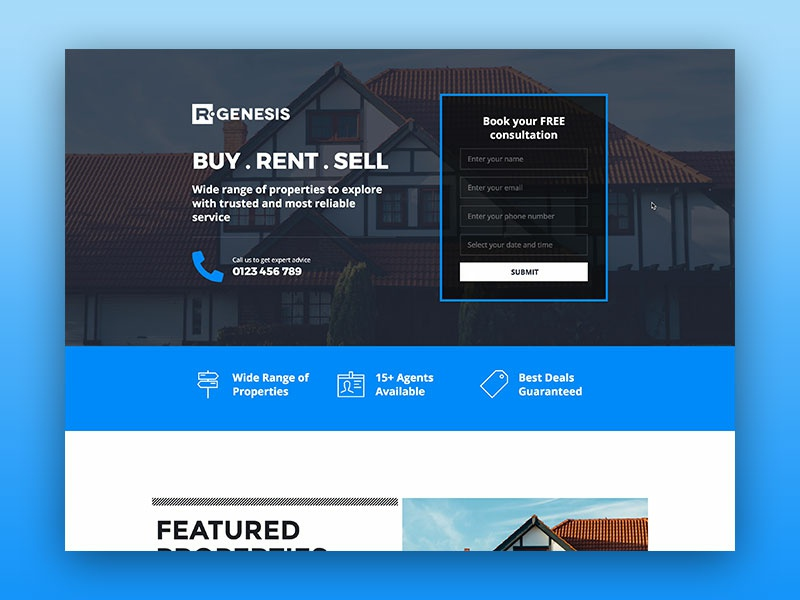 Real Estate Landing Page light theme real estate agency real estate web ui design web ui uiux ui design ui design rgen r.gen web landing page creative modern clean one page