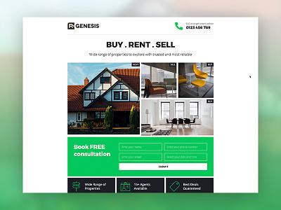 Landing Page Design portfolio typogaphy web desgin website real estate agency rgen r.gen landing page creative modern clean web one page