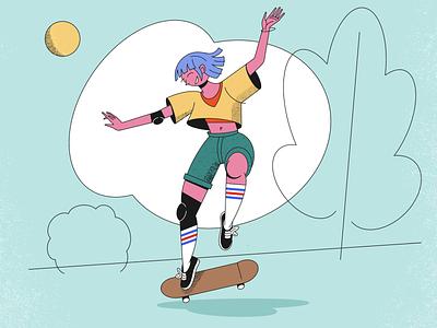 Skate Pro textured girl illustration procreate app girl sport skateboarding skateboard skating texture fashion procreate drawing illustration art character design 2d art design characterdesign illustration illustrator illustraion