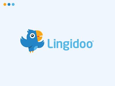 Lingidoo school app language app bird logo logo mark mascotlogo mobile app mascot design mascot logo design logodesign blue parrot logo parrot bird app character design characterdesign illustrator logos logo