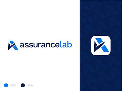 AssuranceLab Logo Redesign icon letter pattern logotype brand branding design branding corporate blue typogaphy typo logos mark symbol trust assurance logodesign logo design illustrator