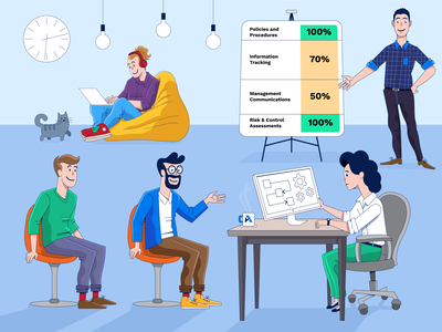 Office product meetup meeting interview assurance technology corporate office design office space office adobe illustrator illustration flat drawing procreate character design illustraion characterdesign design illustrator