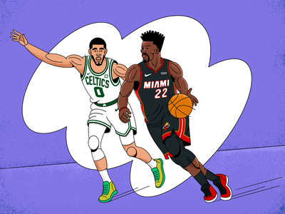 Celtics VS Miami digital illustration drawing procreate app procreate art nba poster basketball miami heat boston celtics nba playoffs nba flat procreate illustration art illustration design illustraion character design 2d art characterdesign illustrator
