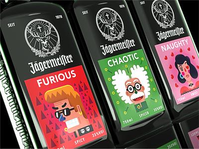 Jägermeister - Concept design funny colorful packagedesign labels illustration label label packaging labeldesign packaging design package design packagingdesign adobe illustrator modern art illustration art character design 2d art characterdesign design illustrator