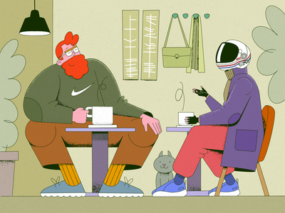 coffee bar cafeteria people illustration characters nasa people modern design coffee shop procreate art design illustration art space coffeeshop coffee modern procreate character design drawing illustration characterdesign illustrator