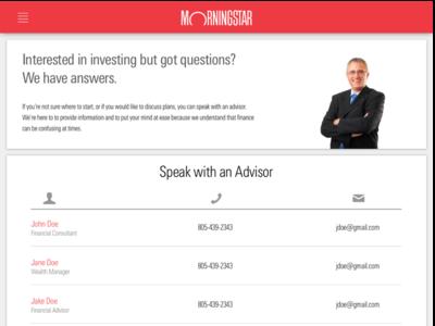 Morningstar Dashboard: Ask An Advisor