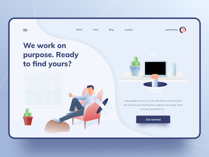A Remote Job Platform clean drawing work from home relax home office colors hero homepage website app design ux vector minimal ui exploration art illustration color design