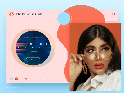 Night Party ticket party event paradise new homepage cool webpage home party hero website app design ux vector minimal ui exploration art color design