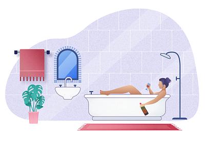Stress Free Bathroom wine homepage stress free drinking mirror shower bathroom bathtub bath hero website ux ui vector minimal exploration art illustration color design