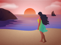 Beach illustration beauty tourism texture sunset sea corona sun beach wanderlust traval hero website ui vector minimal exploration art illustration color design